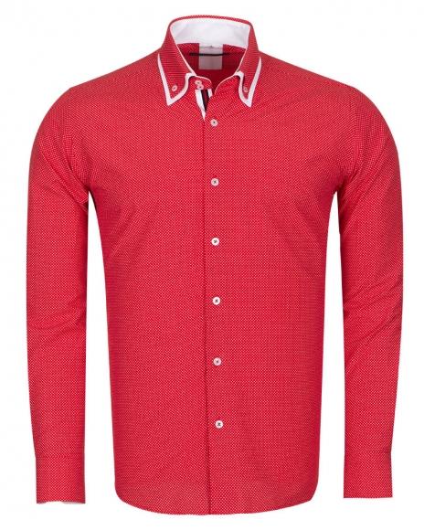 MAKROM - Polka Dot Printed Colorful Long Sleeved Mens Double Collar Shirt SL 6676 (Thumbnail - )