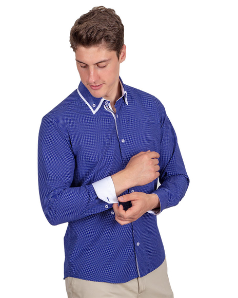 MAKROM - Polka Dot Printed Colorful Long Sleeved Mens Double Collar Shirt SL 6676