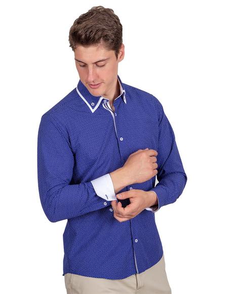 MAKROM - Polka Dot Printed Colorful Long Sleeved Shirt SL 6676