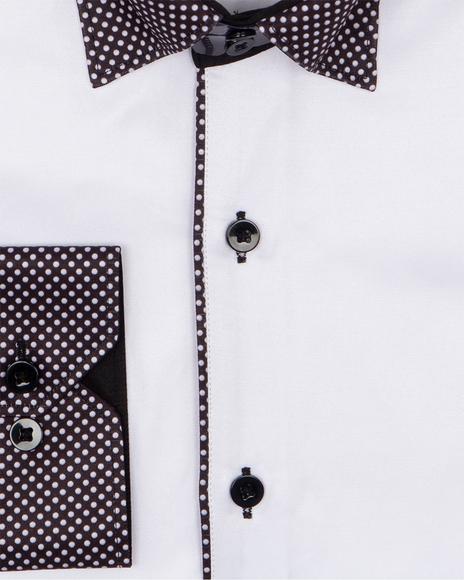 Polka Dot Printed Long Sleeved Mens Shirt SL 6801