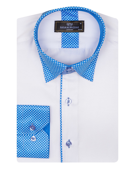 MAKROM - Polka Dot Printed Long Sleeved Mens Shirt SL 6801 (1)