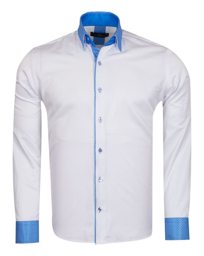 MAKROM - Polka Dot Printed Long Sleeved Mens Shirt SL 6801
