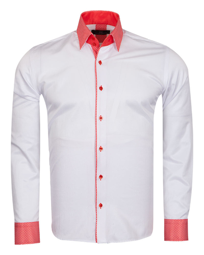 MAKROM - Polka Dot Printed Long Sleeved Mens Shirt SL 6801 (Thumbnail - )