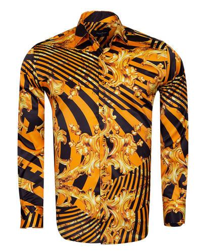 Oscar Banks - Printed Black Satin Mens Shirt SL 6935