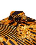Printed Black Satin Mens Shirt SL 6935 - Thumbnail