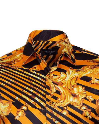 Printed Black Satin Mens Shirt SL 6935