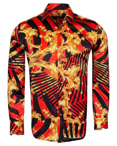 Oscar Banks - Printed Black Satin Mens Shirt SL 6935 (Thumbnail - )