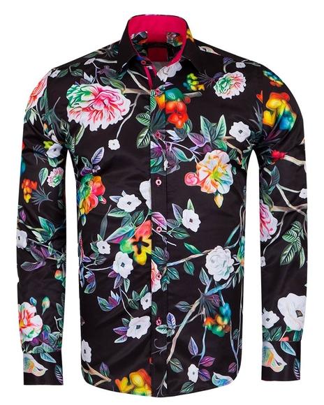 MAKROM - Floral Printed Long Sleeved Black Mens Shirt SL 6961