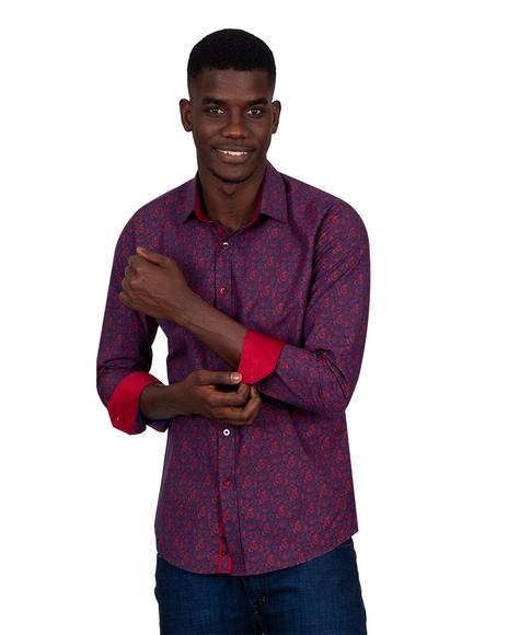 Paisley Printed Long Sleeved Mens Shirt SL 6808