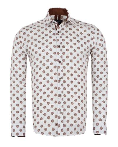 Oscar Banks - Printed Long Sleeved Mens Shirt SL 7171 (Thumbnail - )