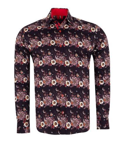 Oscar Banks - Printed Long Sleeved Mens Shirt SL 7174