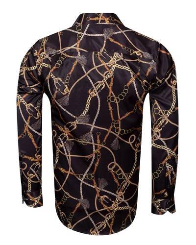Printed Long Sleeved Satin Mens Shirt SL 6934