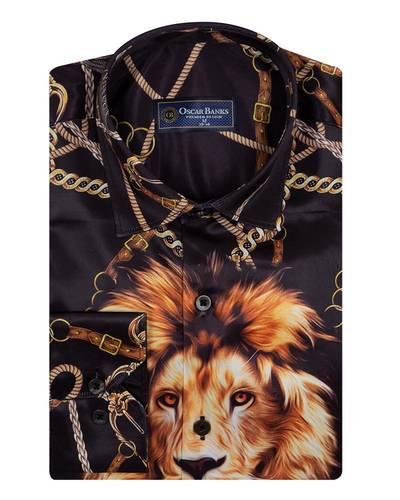 Oscar Banks - Printed Long Sleeved Satin Mens Shirt SL 6934 (1)