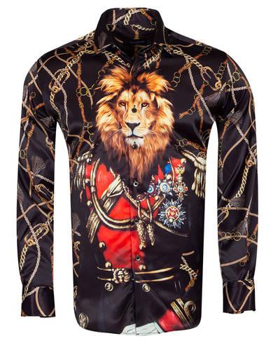 Oscar Banks - Printed Long Sleeved Satin Mens Shirt SL 6934