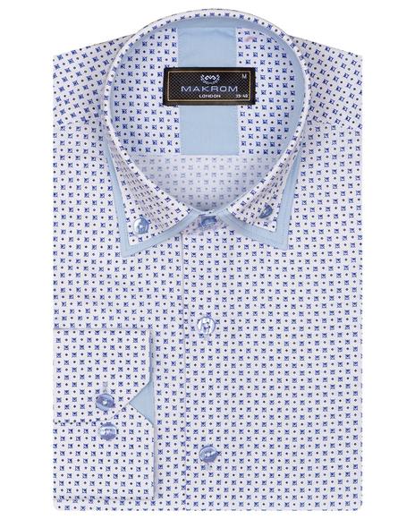 Printed Makrom Long Sleeved Double Collar Mens Shirt SL 6815