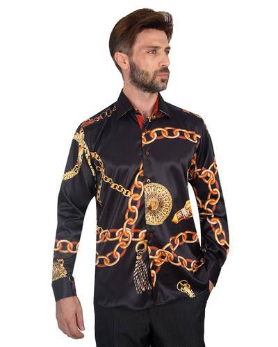 Oscar Banks - Printed Mens Satin Shirt SL 7095 (1)