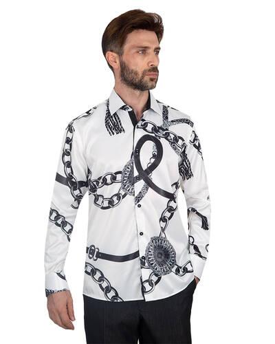Oscar Banks - Printed Mens Satin Shirt SL 7095 (Thumbnail - )