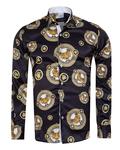 Printed Mens Satin Shirt SL 7105 - Thumbnail