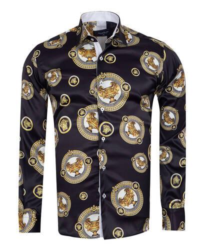 Oscar Banks - Printed Mens Satin Shirt SL 7105