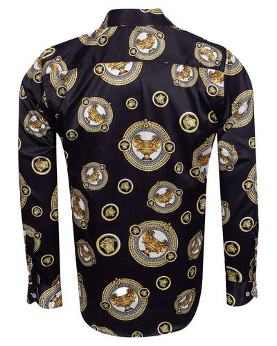 Oscar Banks - Printed Mens Satin Shirt SL 7105 (1)