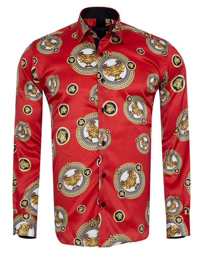 Oscar Banks - Printed Mens Satin Shirt SL 7105 (Thumbnail - )