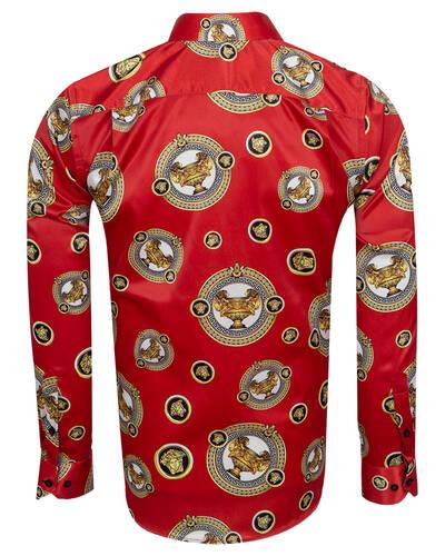 Printed Mens Satin Shirt SL 7105