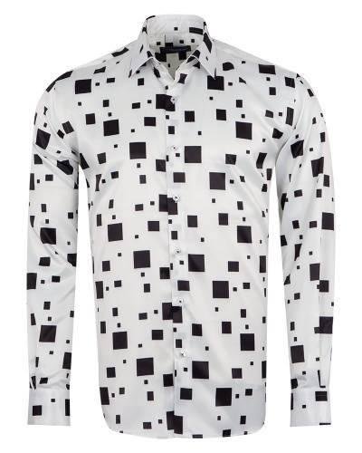 Oscar Banks - Luxury Printed Mens Satin Shirt SL 7140 (Thumbnail - )