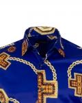Printed Mens Satin Shirt SL 7141 - Thumbnail