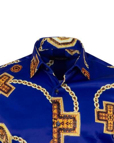 Printed Mens Satin Shirt SL 7141
