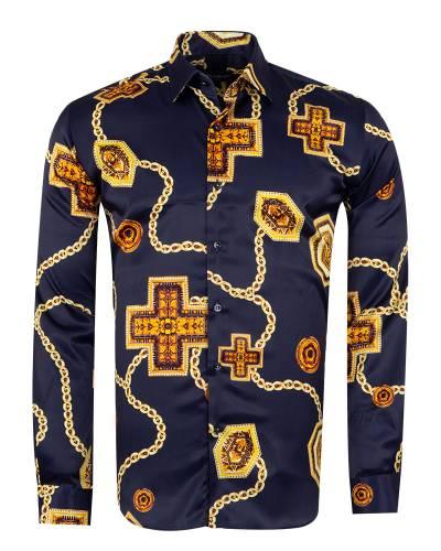 Oscar Banks - Printed Mens Satin Shirt SL 7141