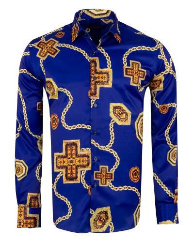 Oscar Banks - Printed Mens Satin Shirt SL 7141 (Thumbnail - )