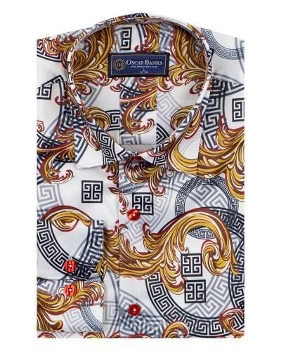 Printed Mens Satin Shirt SL 7143