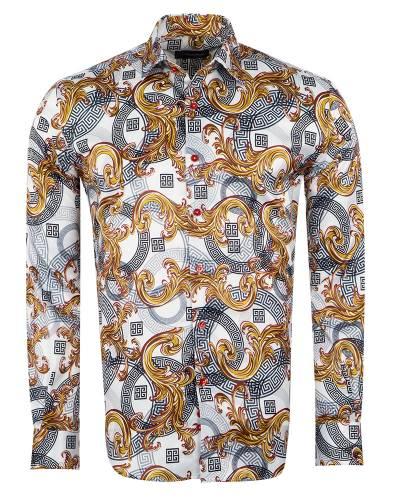 Oscar Banks - Printed Mens Satin Shirt SL 7143