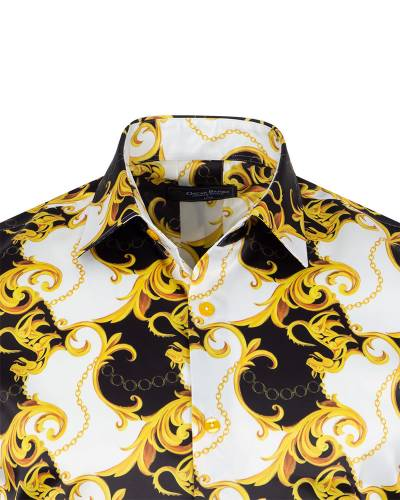 Printed Mens Satin Shirt SL 7145