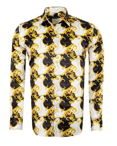 Oscar Banks - Printed Mens Satin Shirt SL 7145