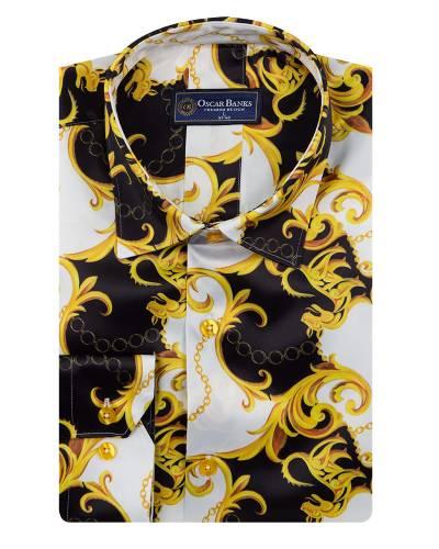 Printed Mens Satin Shirt SL 7145