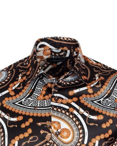 Printed Mens Satin Shirt SL 7146