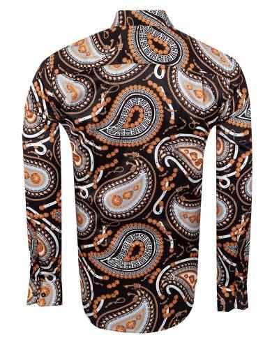 Oscar Banks - Printed Mens Satin Shirt SL 7146 (1)