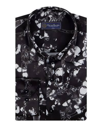 Printed Mens Satin Shirt SL 7148