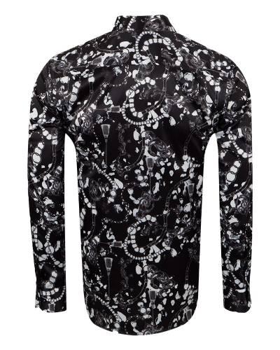 Oscar Banks - Printed Mens Satin Shirt SL 7148 (1)