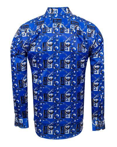 Oscar Banks - Printed Mens Satin Shirt SL 7149 (1)