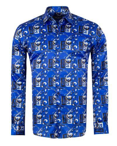 Oscar Banks - Printed Mens Satin Shirt SL 7149