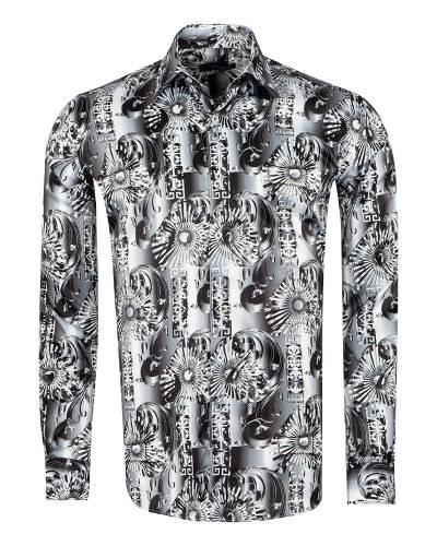 Oscar Banks - Printed Mens Satin Shirt SL 7150