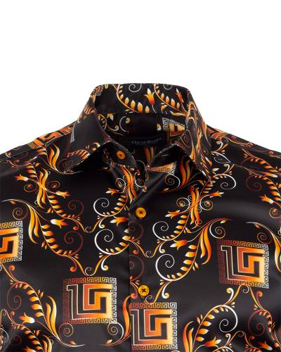 Printed Mens Satin Shirt SL 7151