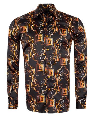 Oscar Banks - Printed Mens Satin Shirt SL 7151