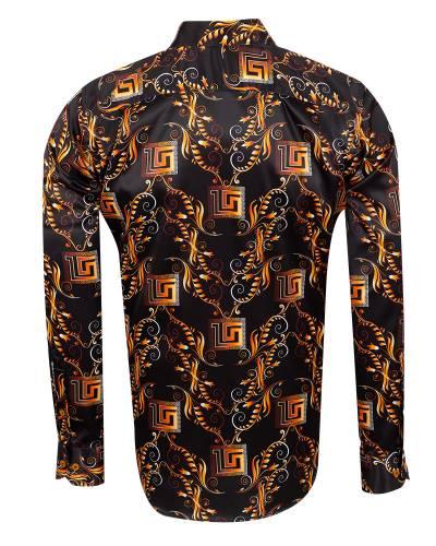 Oscar Banks - Printed Mens Satin Shirt SL 7151 (1)
