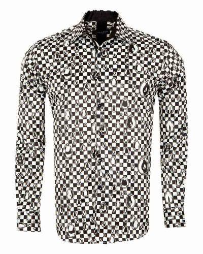 Oscar Banks - Printed Mens Satin Shirt SL 7160