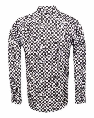 Oscar Banks - Printed Mens Satin Shirt SL 7160 (1)