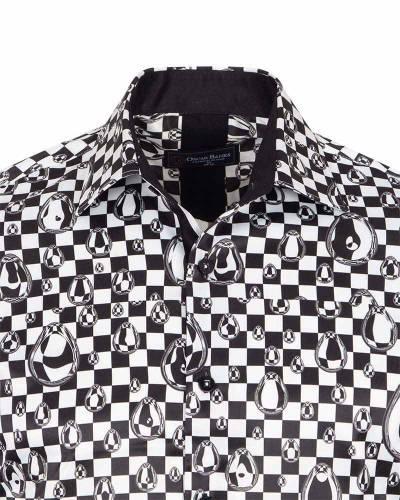 Printed Mens Satin Shirt SL 7160