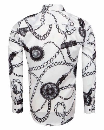 Oscar Banks - Printed Mens Satin Shirt SL 7163 (1)